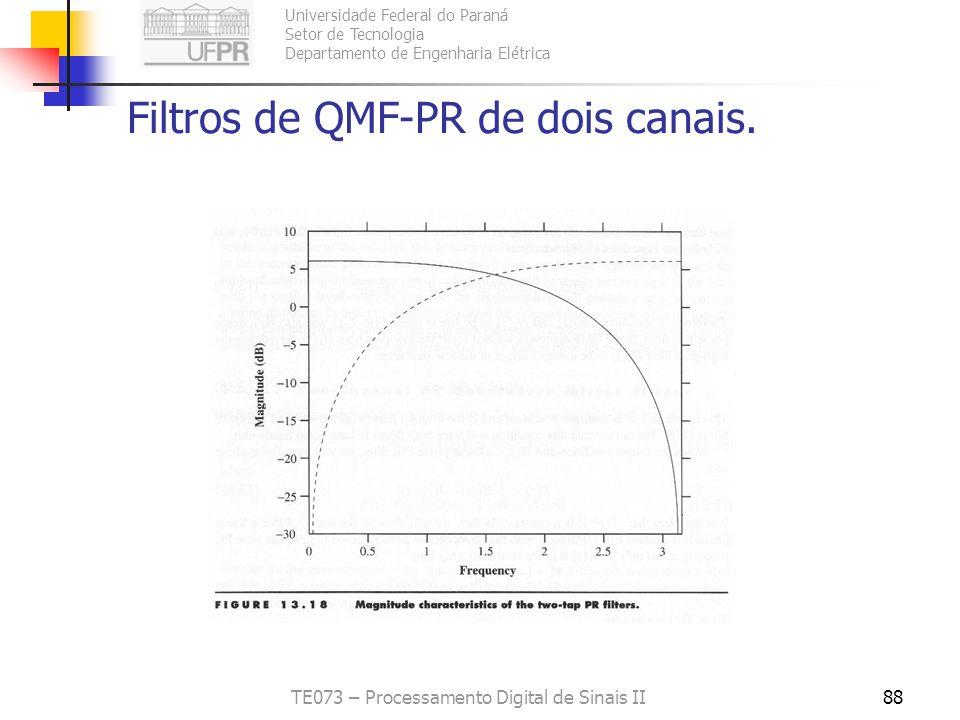 Universidade Federal do Paraná Setor de Tecnologia Departamento de Engenharia Elétrica TE073 – Processamento Digital de Sinais II88 Filtros de QMF-PR