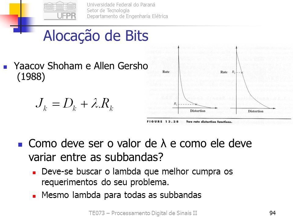Universidade Federal do Paraná Setor de Tecnologia Departamento de Engenharia Elétrica TE073 – Processamento Digital de Sinais II94 Alocação de Bits Y