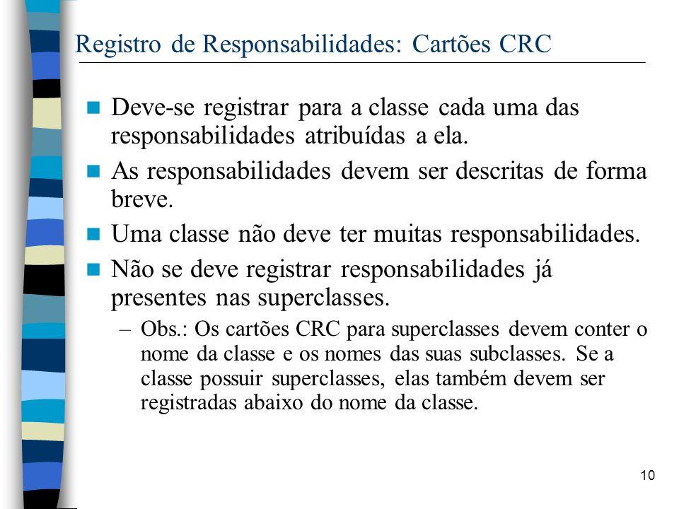 10 Registro de Responsabilidades: Cartões CRC Deve-se registrar para a classe cada uma das responsabilidades atribuídas a ela. As responsabilidades de