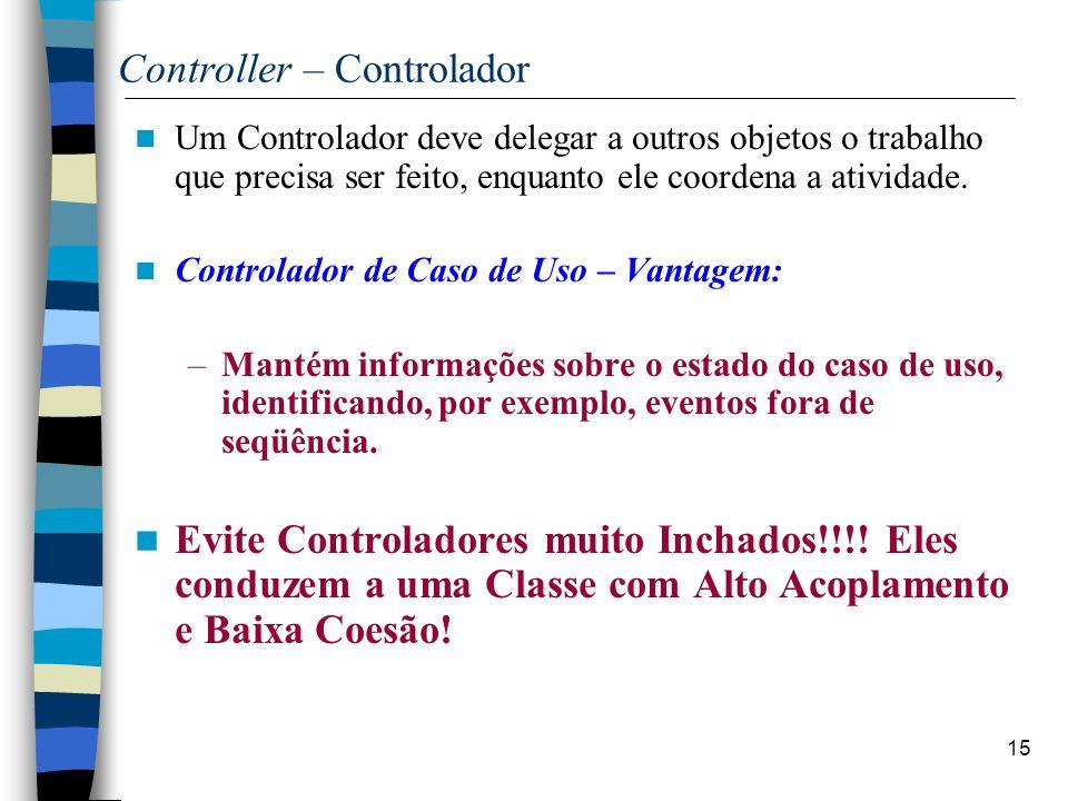 15 Controller – Controlador Um Controlador deve delegar a outros objetos o trabalho que precisa ser feito, enquanto ele coordena a atividade. Controla