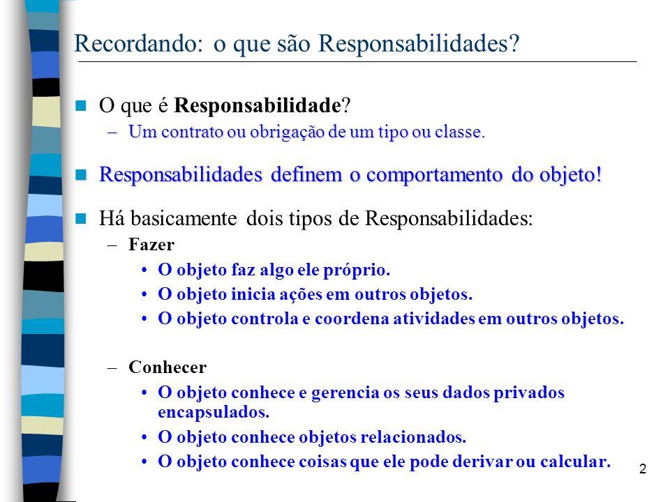 2 Recordando: o que são Responsabilidades? O que é Responsabilidade? –Um contrato ou obrigação de um tipo ou classe. Responsabilidades definem o compo