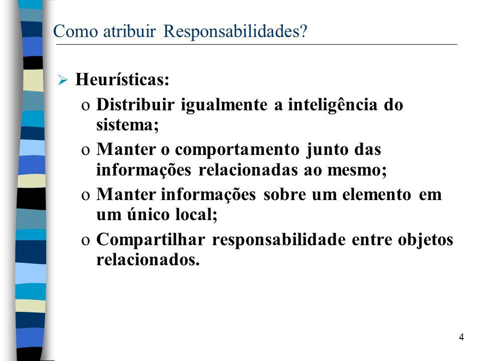 4 Como atribuir Responsabilidades? Heurísticas: oDistribuir igualmente a inteligência do sistema; oManter o comportamento junto das informações relaci
