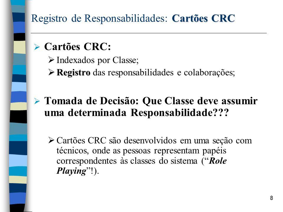 8 Cartões CRC Registro de Responsabilidades: Cartões CRC Cartões CRC: Indexados por Classe; Registro Registro das responsabilidades e colaborações; To