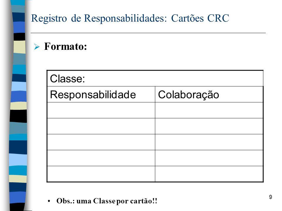 9 Registro de Responsabilidades: Cartões CRC Formato: Obs.: uma Classe por cartão!! Classe: ResponsabilidadeColaboração