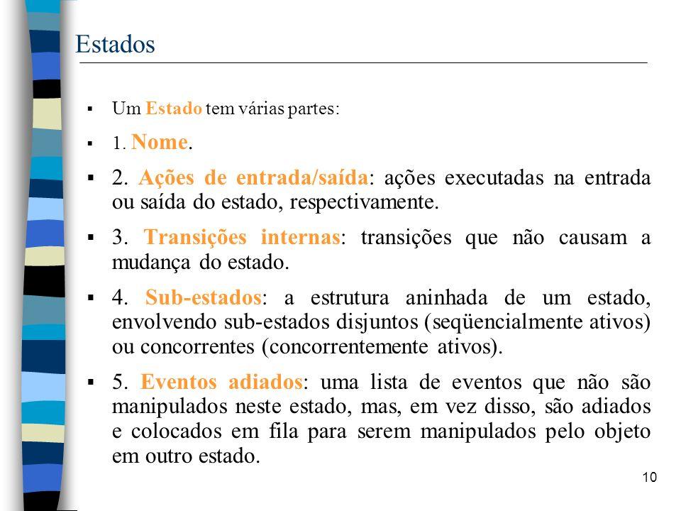 10 Estados Um Estado tem várias partes: 1. Nome. 2. Ações de entrada/saída: ações executadas na entrada ou saída do estado, respectivamente. 3. Transi
