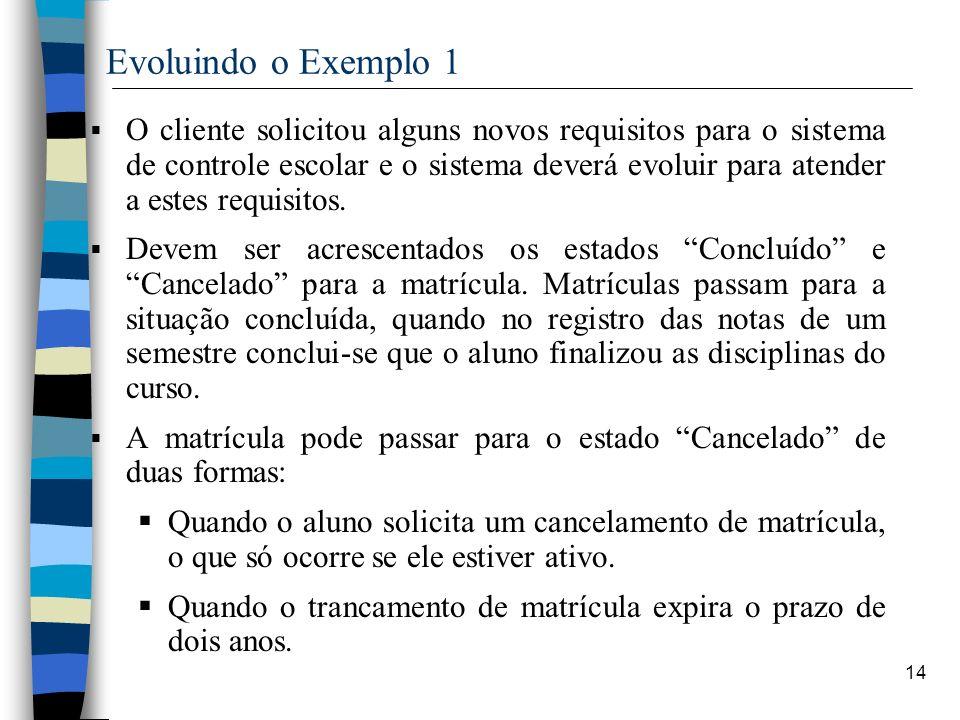 14 Evoluindo o Exemplo 1 O cliente solicitou alguns novos requisitos para o sistema de controle escolar e o sistema deverá evoluir para atender a este