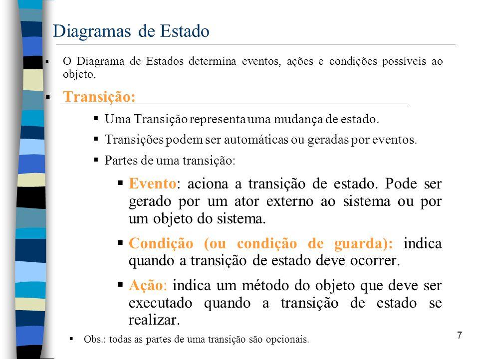 7 Diagramas de Estado O Diagrama de Estados determina eventos, ações e condições possíveis ao objeto. Transição: Uma Transição representa uma mudança