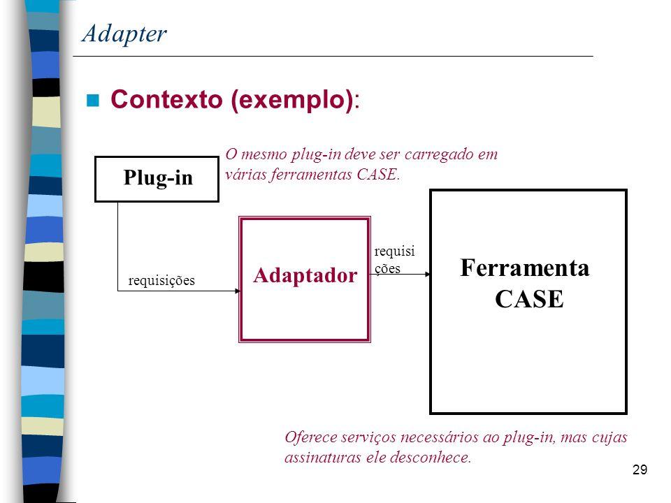 29 Adapter Contexto (exemplo): Plug-in Ferramenta CASE Adaptador Oferece serviços necessários ao plug-in, mas cujas assinaturas ele desconhece. O mesm
