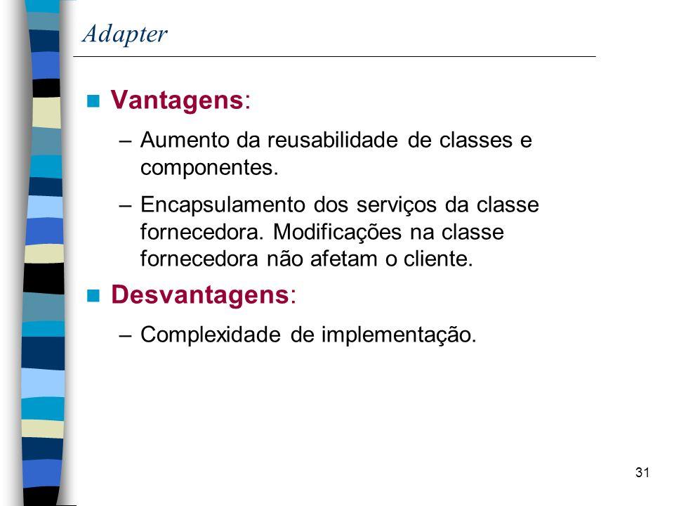 31 Adapter Vantagens: –Aumento da reusabilidade de classes e componentes. –Encapsulamento dos serviços da classe fornecedora. Modificações na classe f
