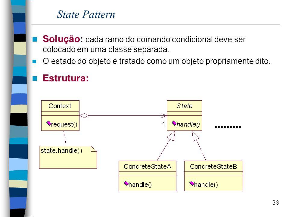 33 State Pattern Solução: cada ramo do comando condicional deve ser colocado em uma classe separada. O estado do objeto é tratado como um objeto propr