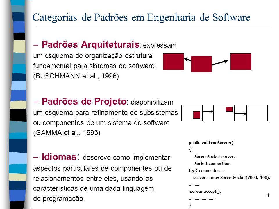 4 Categorias de Padrões em Engenharia de Software –Padrões Arquiteturais : expressam um esquema de organização estrutural fundamental para sistemas de software.