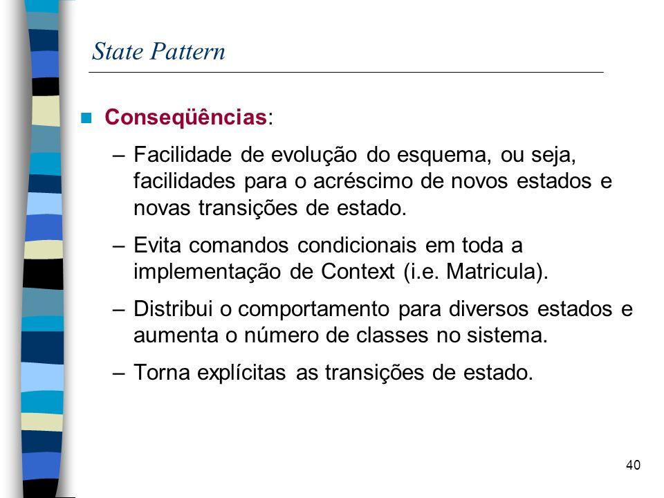 40 State Pattern Conseqüências: –Facilidade de evolução do esquema, ou seja, facilidades para o acréscimo de novos estados e novas transições de estado.