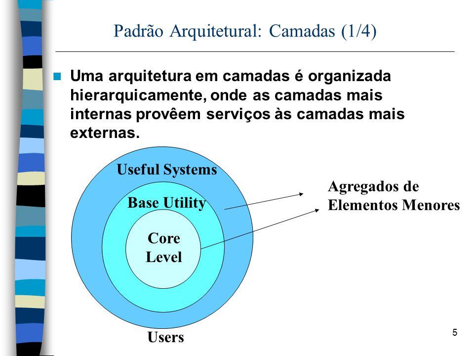 5 Padrão Arquitetural: Camadas (1/4) Uma arquitetura em camadas é organizada hierarquicamente, onde as camadas mais internas provêem serviços às camadas mais externas.