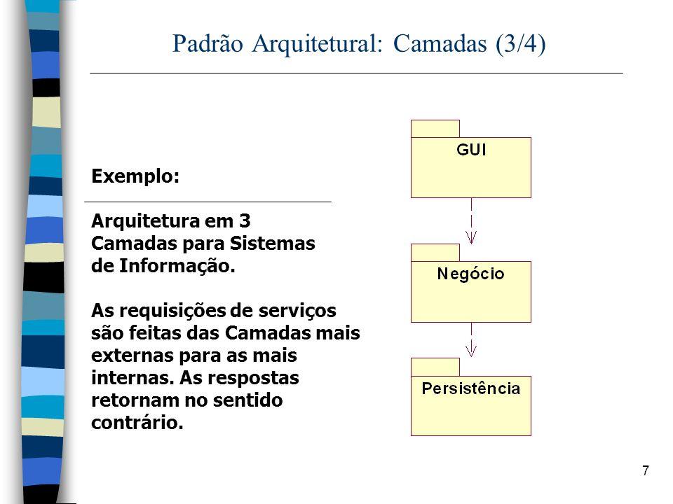 7 Padrão Arquitetural: Camadas (3/4) Exemplo: Arquitetura em 3 Camadas para Sistemas de Informação. As requisições de serviços são feitas das Camadas