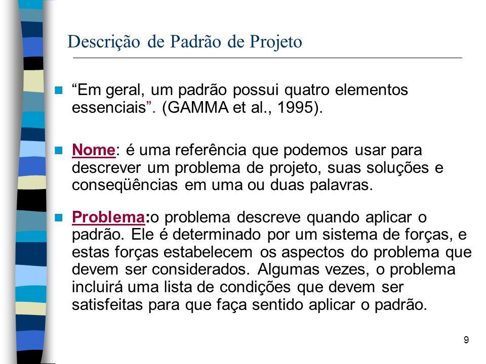 9 Descrição de Padrão de Projeto Em geral, um padrão possui quatro elementos essenciais. (GAMMA et al., 1995). Nome: é uma referência que podemos usar