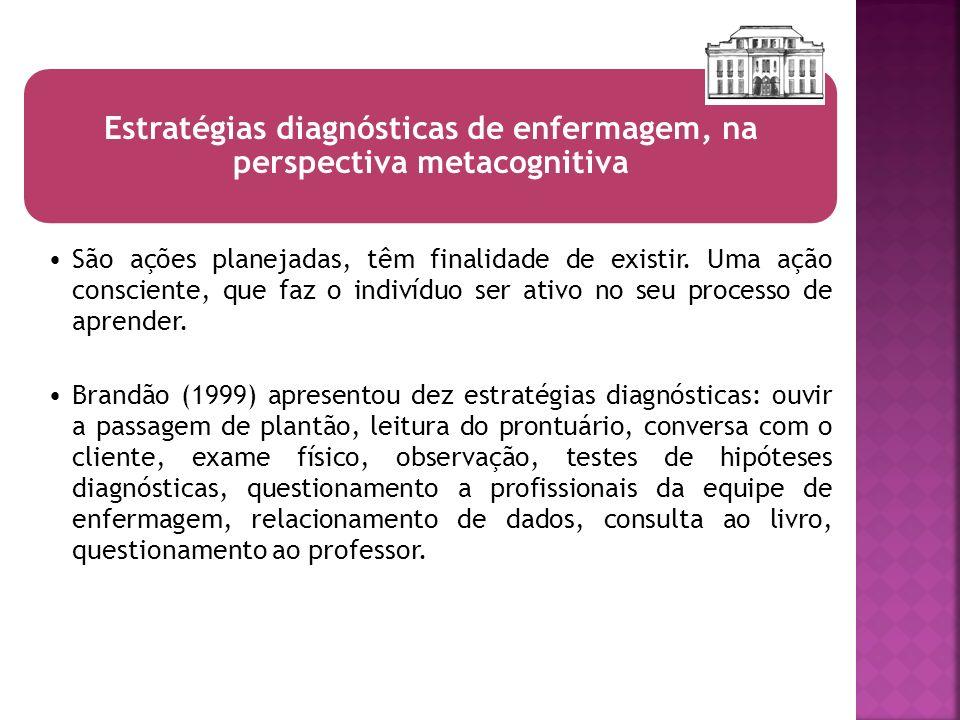 Estratégias diagnósticas de enfermagem, na perspectiva metacognitiva São ações planejadas, têm finalidade de existir. Uma ação consciente, que faz o i