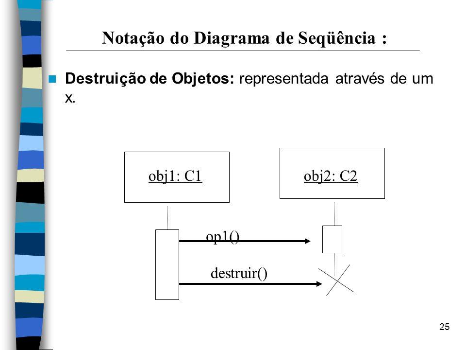 25 Notação do Diagrama de Seqüência : Destruição de Objetos: representada através de um x. obj2: C2obj1: C1 op1() destruir()