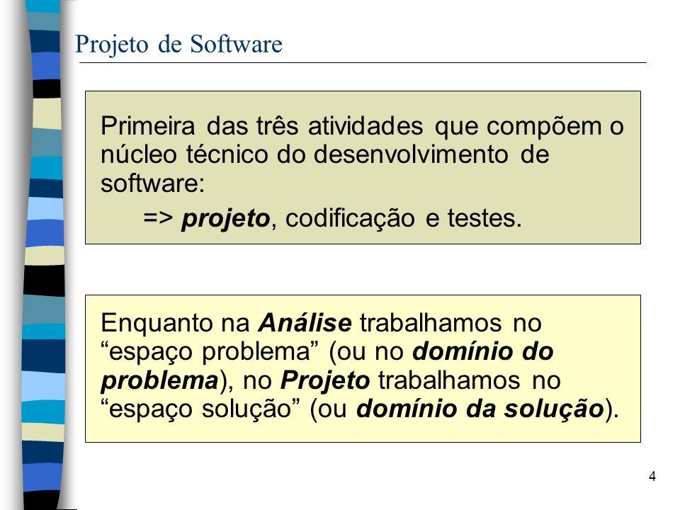 4 Projeto de Software Primeira das três atividades que compõem o núcleo técnico do desenvolvimento de software: => projeto, codificação e testes. Enqu