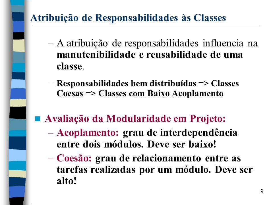 9 Atribuição de Responsabilidades às Classes –A atribuição de responsabilidades influencia na manutenibilidade e reusabilidade de uma classe. –Respons