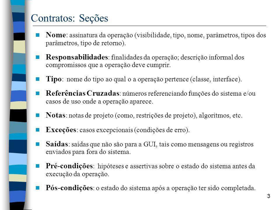 3 Contratos: Seções Nome: assinatura da operação (visibilidade, tipo, nome, parâmetros, tipos dos parâmetros, tipo de retorno). Responsabilidades : fi