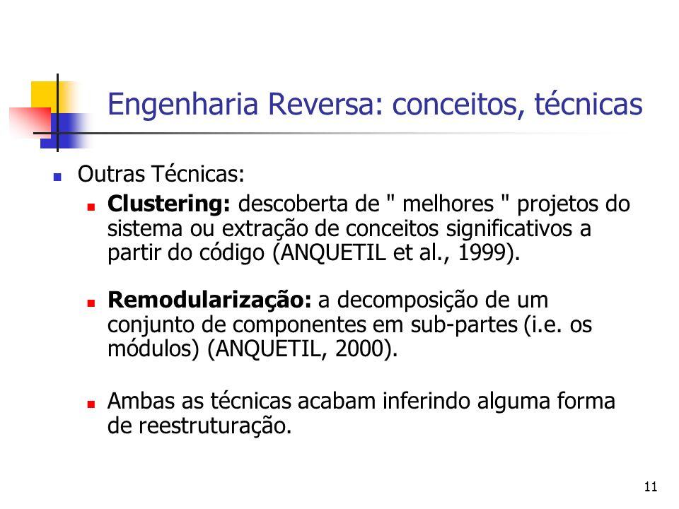 11 Engenharia Reversa: conceitos, técnicas Outras Técnicas: Clustering: descoberta de