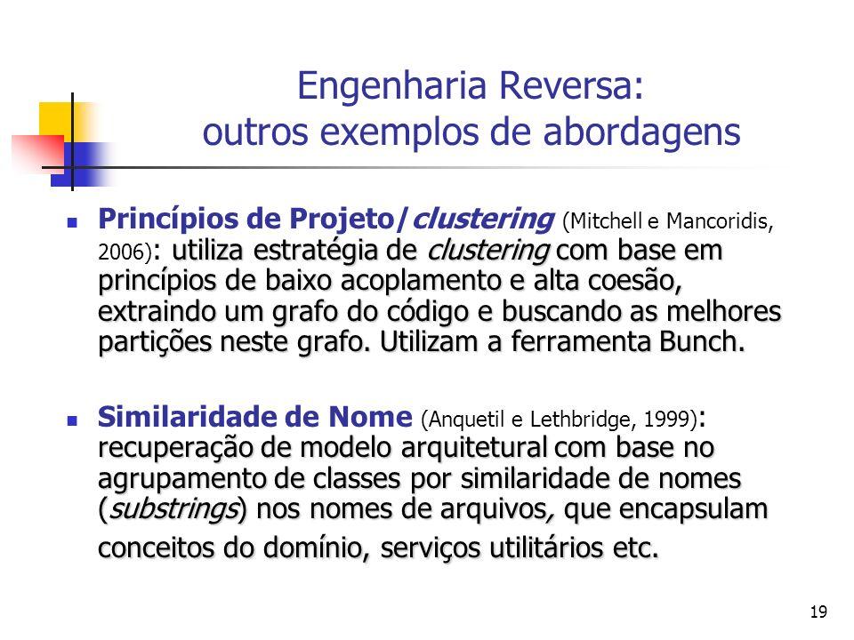 19 Engenharia Reversa: outros exemplos de abordagens utiliza estratégia de clustering com base em princípios de baixo acoplamento e alta coesão, extra
