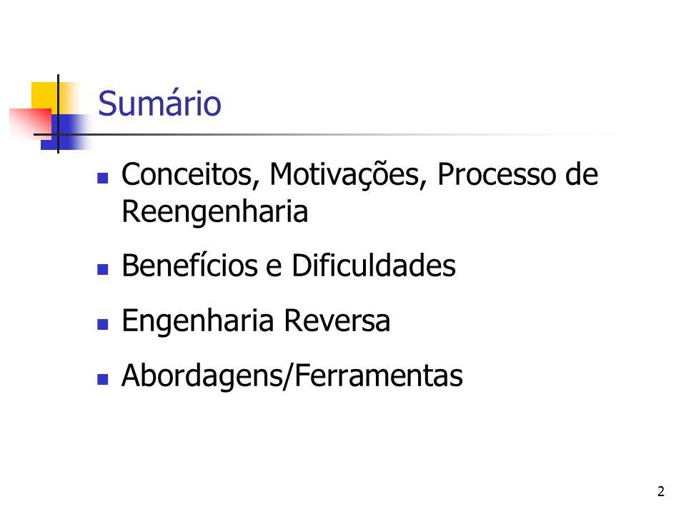 2 Sumário Conceitos, Motivações, Processo de Reengenharia Benefícios e Dificuldades Engenharia Reversa Abordagens/Ferramentas