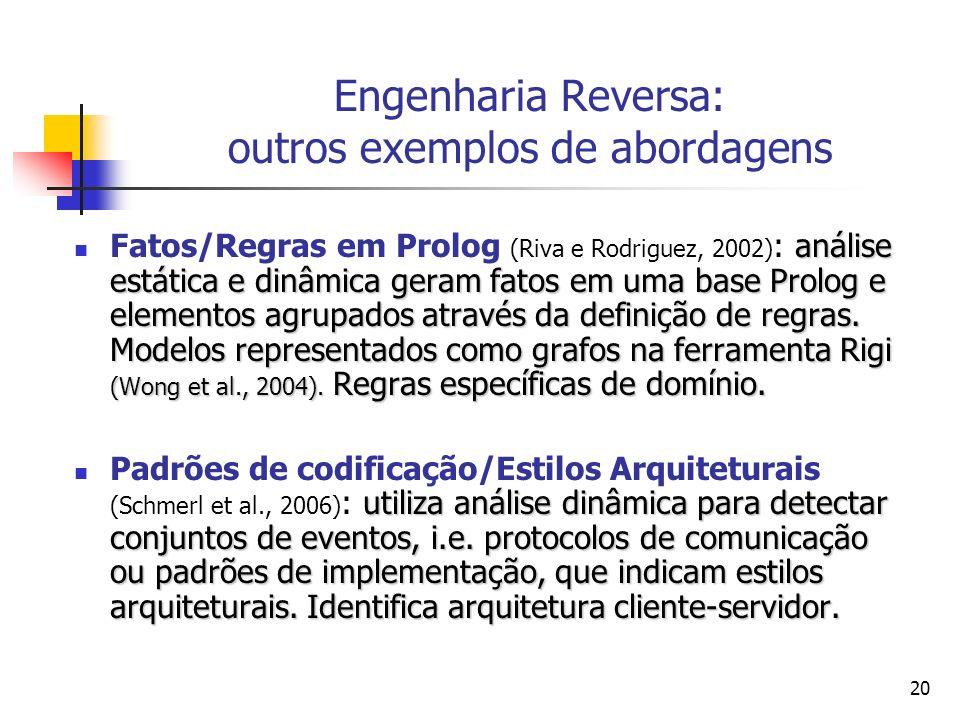 20 Engenharia Reversa: outros exemplos de abordagens análise estática e dinâmica geram fatos em uma base Prolog e elementos agrupados através da defin