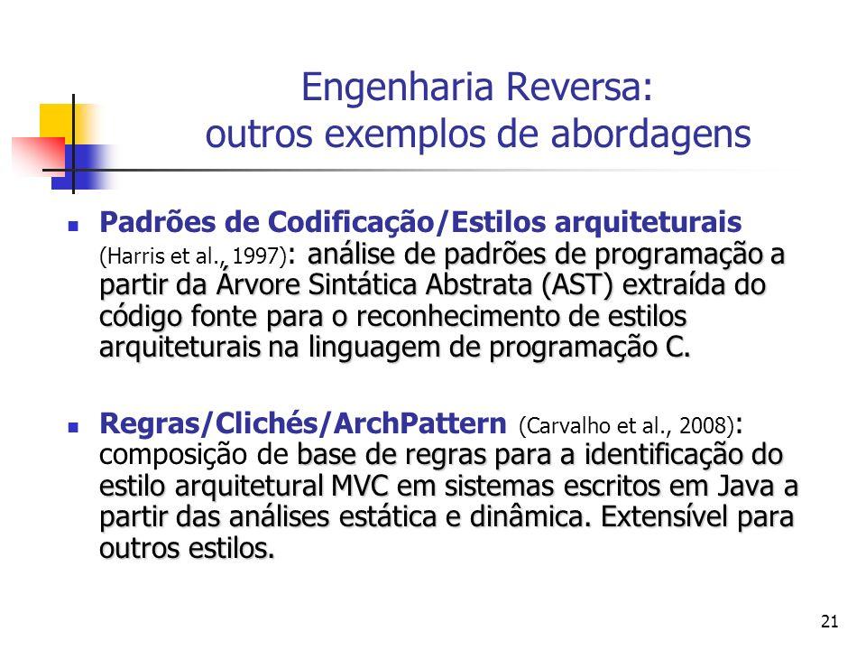 21 Engenharia Reversa: outros exemplos de abordagens análise de padrões de programação a partir da Árvore Sintática Abstrata (AST) extraída do código