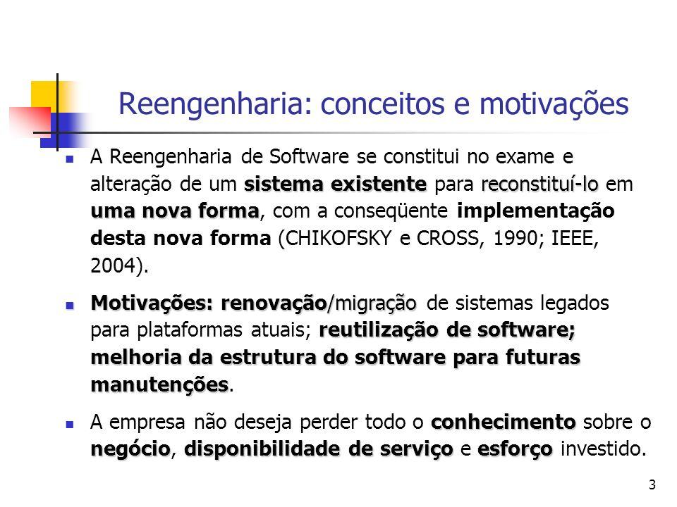 3 Reengenharia: conceitos e motivações sistema existentereconstituí-lo uma nova forma A Reengenharia de Software se constitui no exame e alteração de