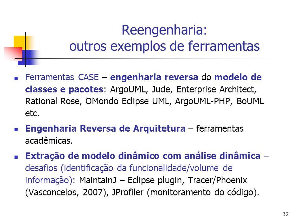 32 Reengenharia: outros exemplos de ferramentas Ferramentas CASE – engenharia reversa do modelo de classes e pacotes: ArgoUML, Jude, Enterprise Archit