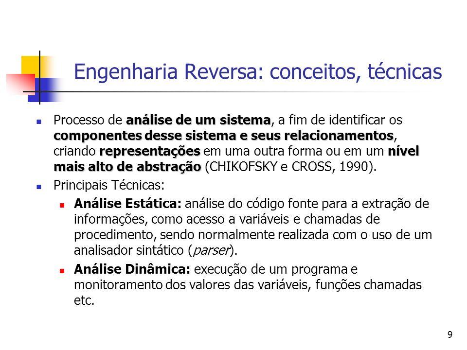 20 Engenharia Reversa: outros exemplos de abordagens análise estática e dinâmica geram fatos em uma base Prolog e elementos agrupados através da definição de regras.