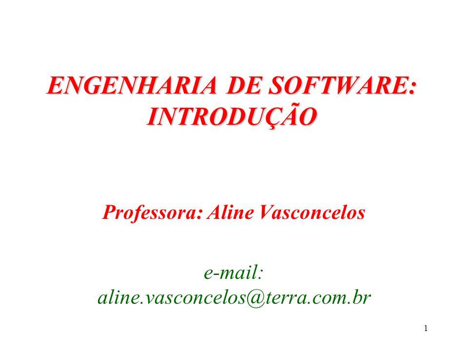 1 ENGENHARIA DE SOFTWARE: INTRODUÇÃO Professora: Aline Vasconcelos e-mail: aline.vasconcelos@terra.com.br