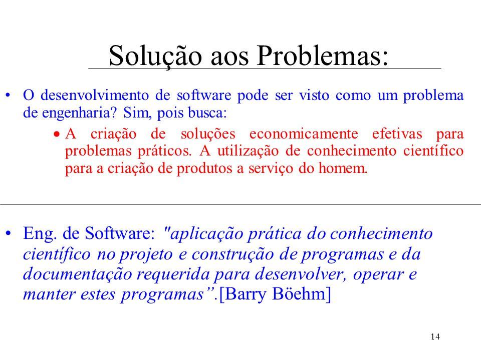 14 Solução aos Problemas: O desenvolvimento de software pode ser visto como um problema de engenharia? Sim, pois busca: A criação de soluções economic