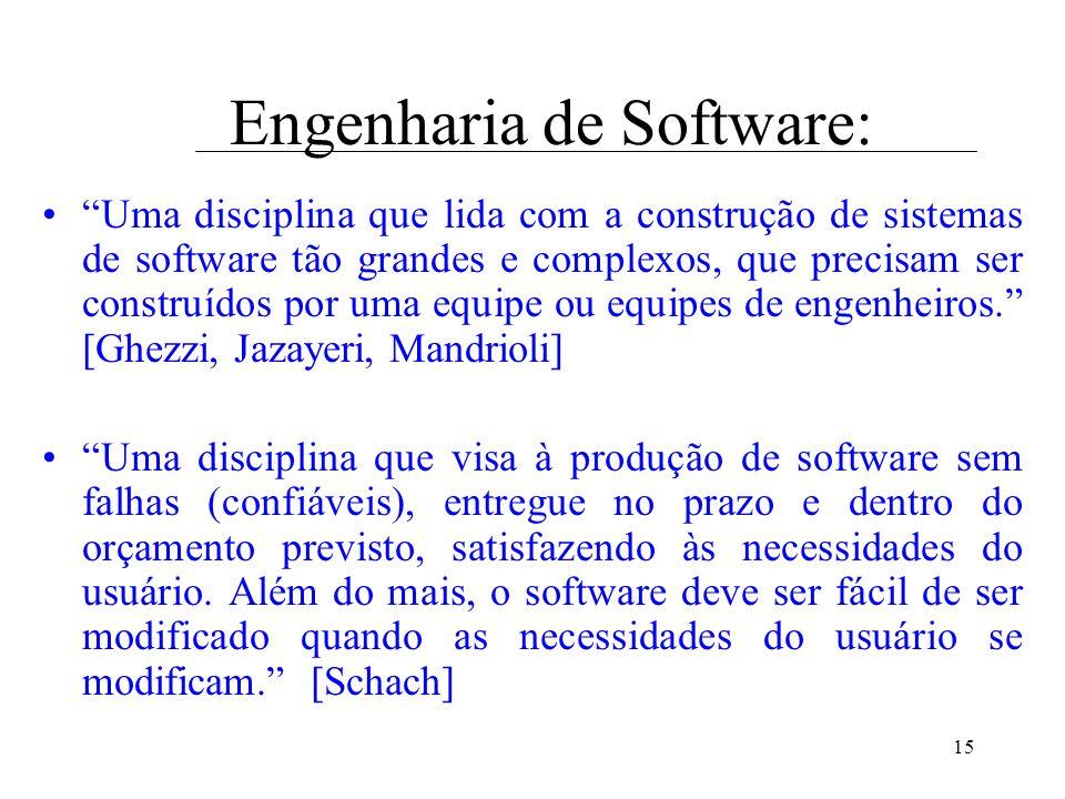 15 Engenharia de Software: Uma disciplina que lida com a construção de sistemas de software tão grandes e complexos, que precisam ser construídos por