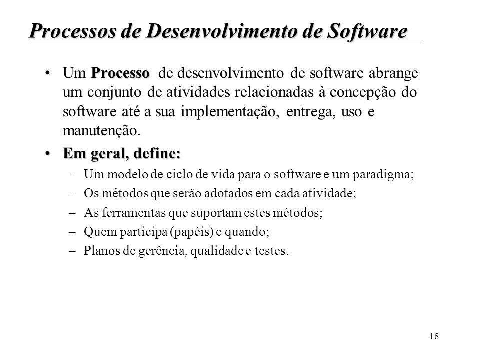 18 Processos de Desenvolvimento de Software ProcessoUm Processo de desenvolvimento de software abrange um conjunto de atividades relacionadas à concep