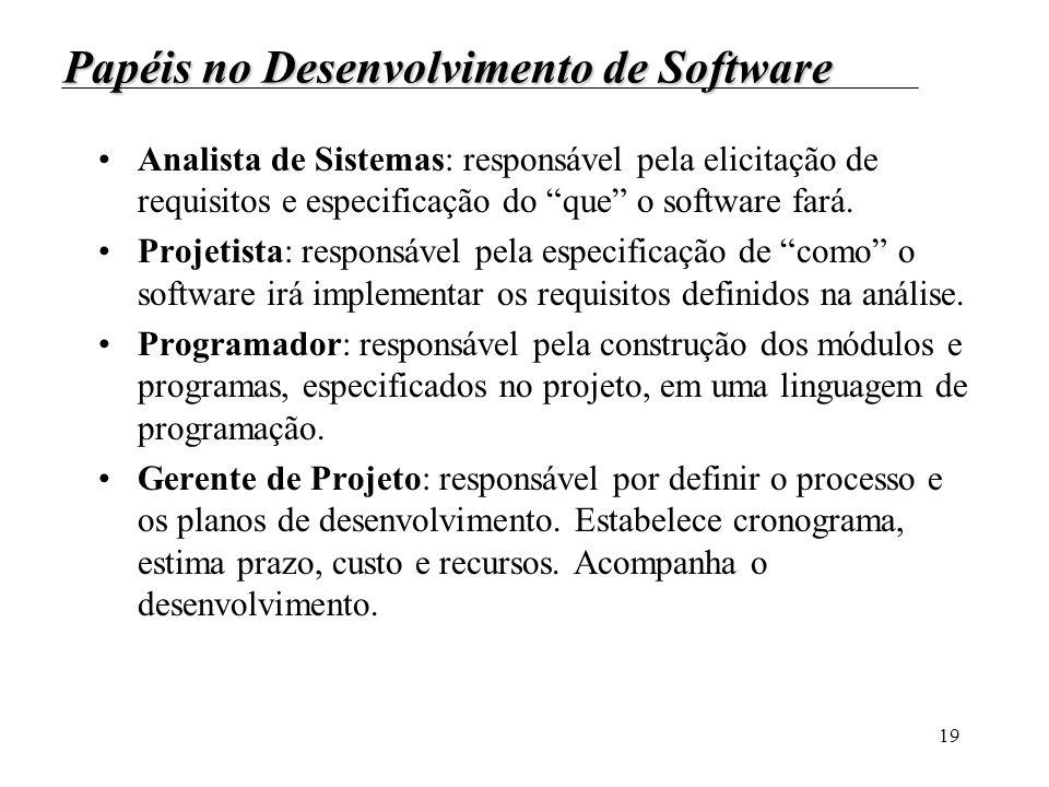19 Papéis no Desenvolvimento de Software Analista de Sistemas: responsável pela elicitação de requisitos e especificação do que o software fará. Proje