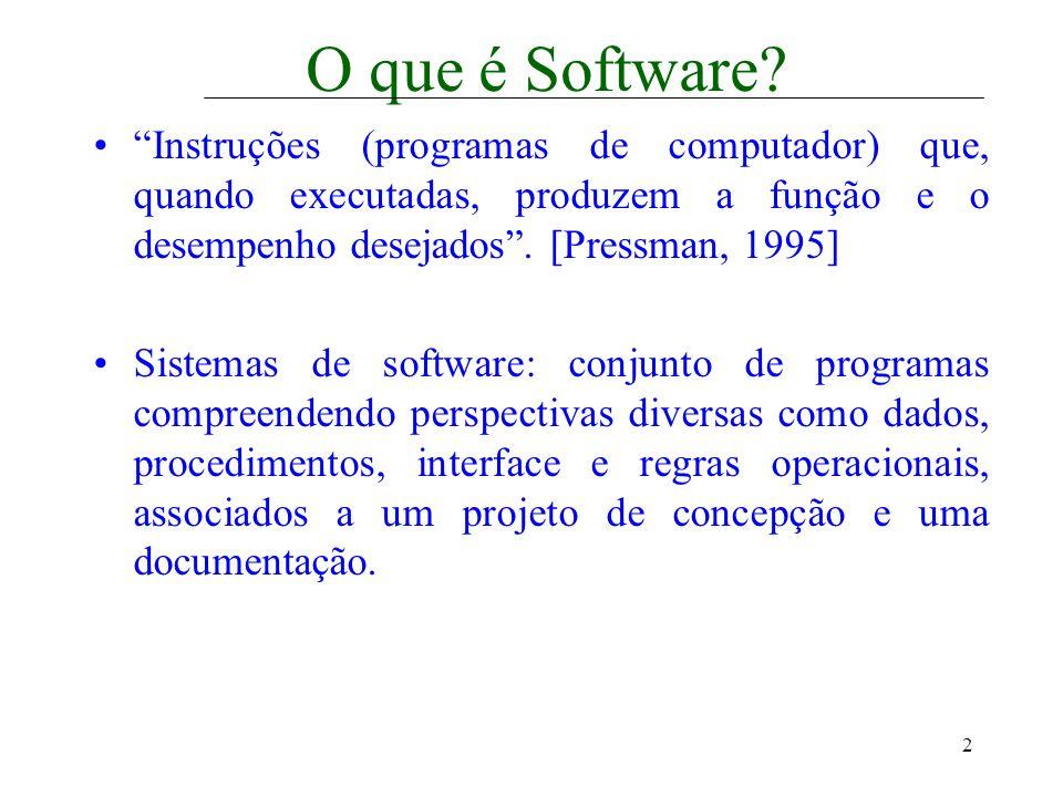2 O que é Software? Instruções (programas de computador) que, quando executadas, produzem a função e o desempenho desejados. [Pressman, 1995] Sistemas