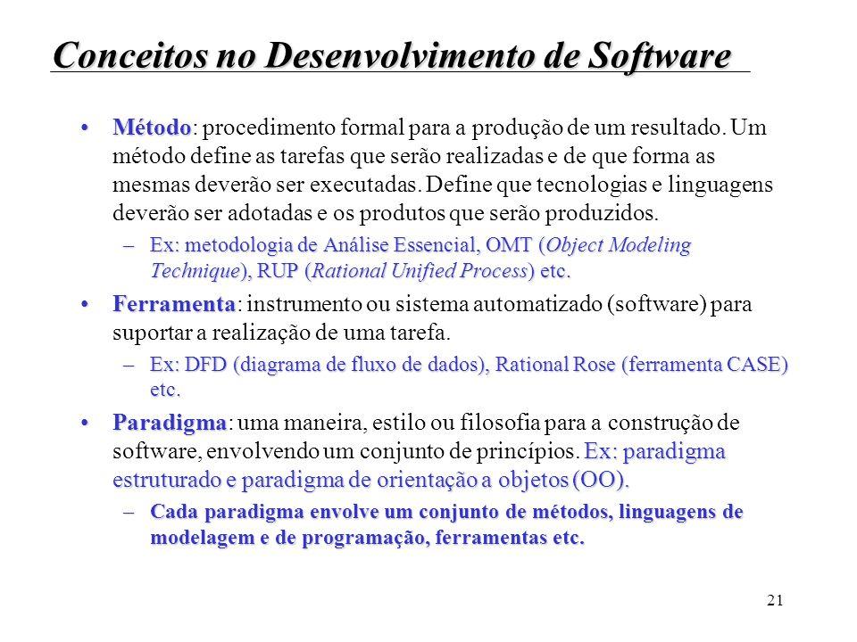 21 Conceitos no Desenvolvimento de Software MétodoMétodo: procedimento formal para a produção de um resultado. Um método define as tarefas que serão r