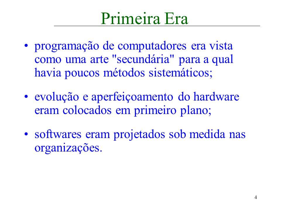 5 Segunda Era multi-programação e sistemas multi-usuários; sistemas interativos através de terminais de acesso; armazenagem on-line leva à primeira geração de sistemas de gerenciamento de bancos de dados; altos custos e esforço em manutenção: primeira crise do software.