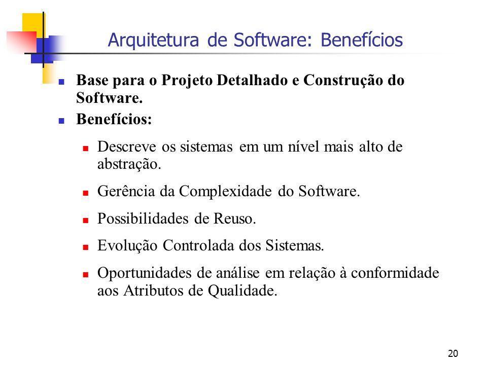 20 Arquitetura de Software: Benefícios Base para o Projeto Detalhado e Construção do Software.
