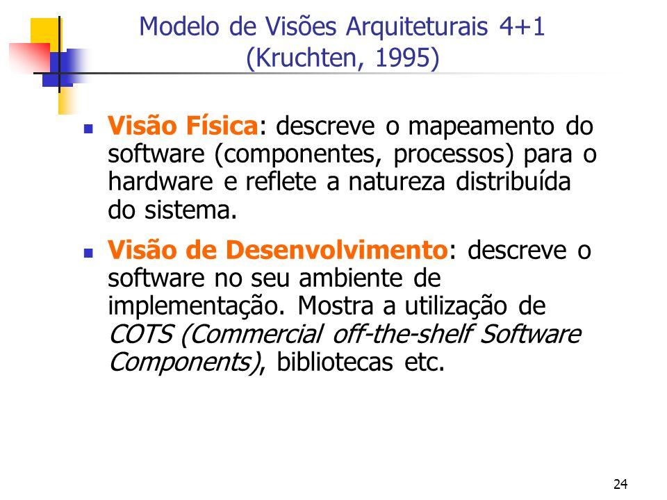 24 Modelo de Visões Arquiteturais 4+1 (Kruchten, 1995) Visão Física: descreve o mapeamento do software (componentes, processos) para o hardware e reflete a natureza distribuída do sistema.
