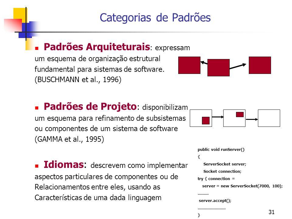 31 Categorias de Padrões Padrões Arquiteturais : expressam um esquema de organização estrutural fundamental para sistemas de software.