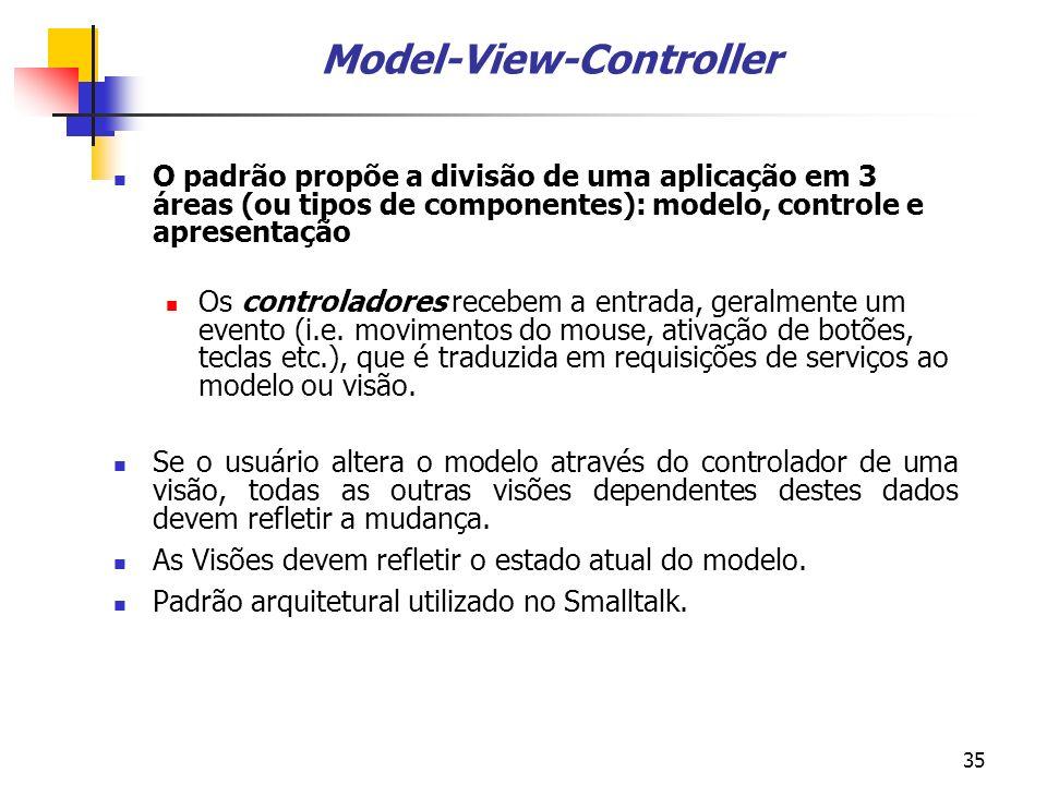35 Model-View-Controller O padrão propõe a divisão de uma aplicação em 3 áreas (ou tipos de componentes): modelo, controle e apresentação Os controladores recebem a entrada, geralmente um evento (i.e.