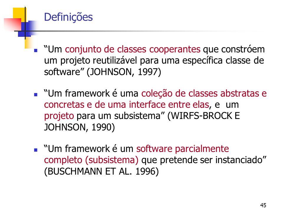 45 Definições Um conjunto de classes cooperantes que constróem um projeto reutilizável para uma específica classe de software (JOHNSON, 1997) Um framework é uma coleção de classes abstratas e concretas e de uma interface entre elas, e um projeto para um subsistema (WIRFS-BROCK E JOHNSON, 1990) Um framework é um software parcialmente completo (subsistema) que pretende ser instanciado (BUSCHMANN ET AL.
