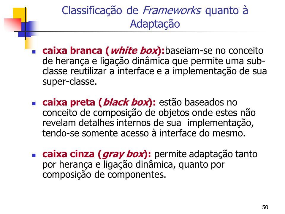 50 Classificação de Frameworks quanto à Adaptação caixa branca (white box):baseiam-se no conceito de herança e ligação dinâmica que permite uma sub- classe reutilizar a interface e a implementação de sua super-classe.