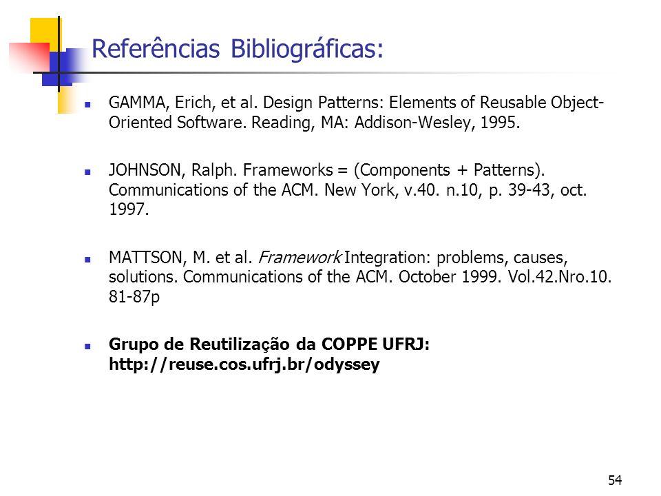 54 Referências Bibliográficas: GAMMA, Erich, et al.