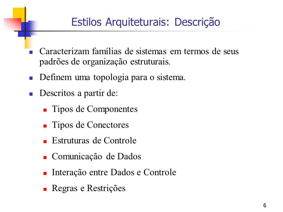 6 Estilos Arquiteturais: Descrição Caracterizam famílias de sistemas em termos de seus padrões de organização estruturais.