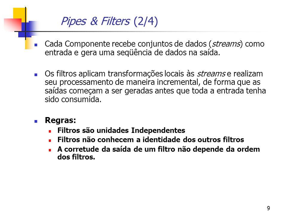 9 Pipes & Filters (2/4) Cada Componente recebe conjuntos de dados (streams) como entrada e gera uma seqüência de dados na saída.
