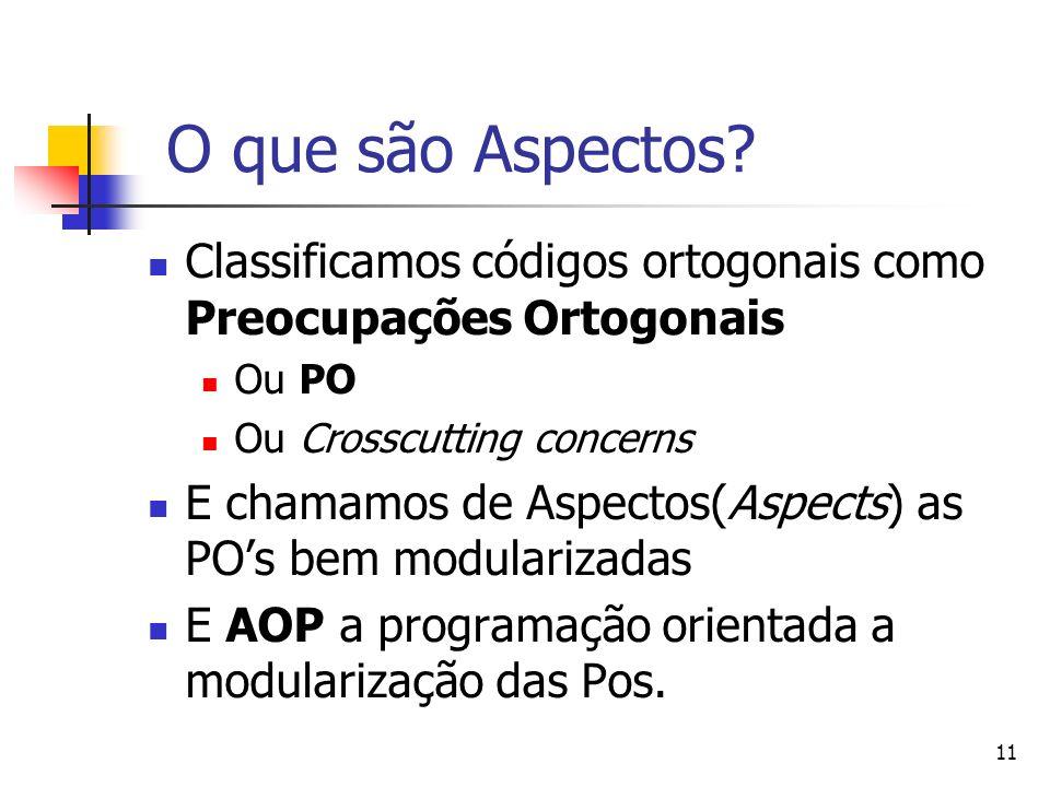 11 O que são Aspectos? Classificamos códigos ortogonais como Preocupações Ortogonais Ou PO Ou Crosscutting concerns E chamamos de Aspectos(Aspects) as